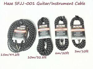 Haze Tour Grade Braided Tweed Guitar/Instrument Cable/Lead,3m,6m,10m,15m BK+SL