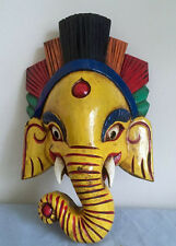 Hand craved Wood Ganesh Elephant Mask Home Decorative Wall Art Fair trade Nepal