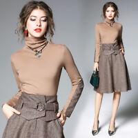 New women's fashion temperament High collar Top+High Waist skirts suits S-3XL