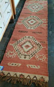 100% Wool Kilim rug 60x245cm Quality Hand Made runner Rust, Beige, Brown
