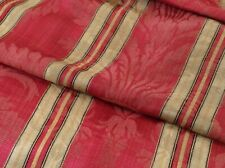 Antique French Silk Stripe Damask Fabric 19thc. Napoleon III Upholstery Red Gold