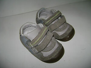 STRIDE RITE GRAHAM BABY TODDLER BOYS SHOES size 5 W GRAY GREY SOFT SOLE LEATHER