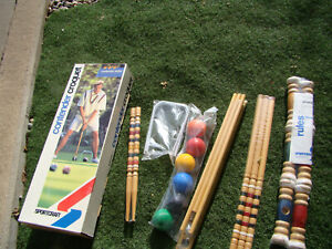 NEW Vintage Sportcraft Contender Series Croquet Set 6 Players With Stand