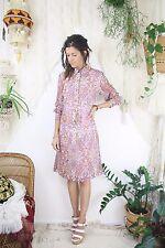 60s Mod hippie Shirtdress, Mauve Paisley Long sleeves Shirt dress, Medium 4136