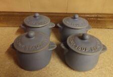 Lidded Soup Bowls - Blue & Cream - 'Soup, Soup, Beautiful Soup' On Lids - Denby?