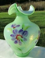 "Fenton Art Glass Green Splendor Hand Painted Purple Floral Vase 9""H NIB"