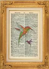ORIGINAL - Hummingbird Print on Vintage Dictionary Page Print - Wall Art Hanging