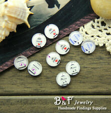 10PCS 12mm Photo Handmade Mix Bird Glass Dome Cabochon Cameo Cabs MBL023
