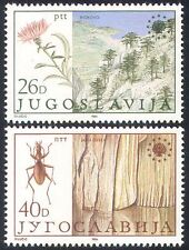 Yugoslavia 1984 Nature Protection/Parks/Beetle/Caves/Flowers/Trees 2v set n41290