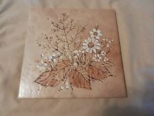 White Daisies with Leaves Brown and White Decorative Ceramic Tile from Sassuolo