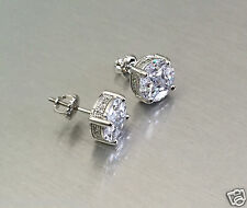 MENS 6.84 ct. Diamond Screw Back Round Stud Earrings 14K Gold VVS1 Iced Out 12mm