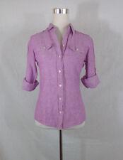 BANANA REPUBLIC Women's Linen Blend Long Sleeve Button Front Blouse Top Sz 2