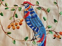 Vintage Art Nouveau Embroidered Peacock Bird of Paradise Runner Scarf Arts Craft