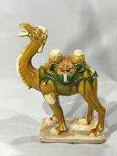 New listing Chinese Antique Sancai Majolica Egg and Spinach Glaze Camel Figurine