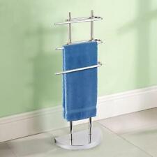 3 Arm Free Standing Chrome Towel Rail Stand Bathroom Storage Rack Holder Shelf
