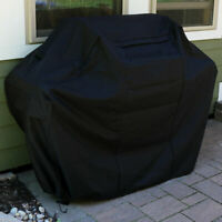 Sunnydaze Heavy-Duty 300D Polyester Waterproof Black Grill Cover - 64-Inch