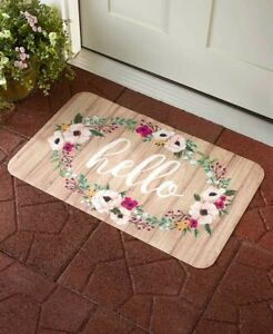 SEASONAL DOOR MAT VALENTINE LOVE SPRING FLOWER INDOOR OUTDOOR PORCH DECK HOME