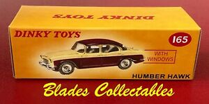 DINKY TOY 165 QUALITY REPRO BOX HUMBER HAWK (CREAM/MAROON) Blades Collectables