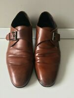 AQUILA 'Stark' Brown Calf Leather Single Monkstraps - Size 41 EU - Made in Italy