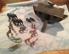 KENYA COTTAGE FOLK ARTS CRAFTS HANDMADE NOAH'S ARK 21pc Boat Animals AFRICA