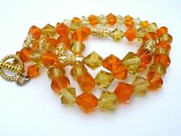 "Yellow and Orange Glass Bead Necklace Gold Tone 26"" Long Beaded Vintage Jewelry"