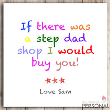 Step Father Step Dad Birthday Card Fathers Father's Day Card Funny Humor Card D3