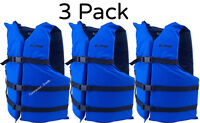 Adult Life Jacket Preserver 3-Pack Blue USCG Type III Fishing Boating PFD Vest