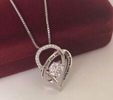 Collar i Love You Colgante Corazón Circonia 925 Plata Rodinada