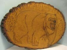Old Grizzly Bear Flemish Art Wood Burnt Carving on slice of Tree Trunk Nice!