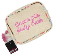 Ocean Air Salty Hair Womens Straw Raffia Make-up Cosmetics Bag Case Double Zip