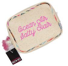 Ocean Air Salty Hair Womens Straw Raffia Make-up Cosmetics Bag Case Double Zip