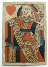 More details for antique playing card 1820 single queen of hearts woodblock print hand coloured