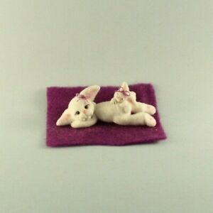 OOAK~Bunny~Rabbit~Mini~Clay~Artist Doll~Sculpt~Baby Toy~Dollhouse~Cheryl Brown