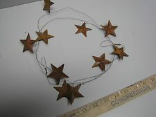 "DLCC~60"" rustic wire garland with 10 1.5"" Rusty Tin Stars Primitive home decor"