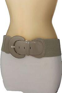 New Women Fashion Belt Hip High Waist Stretch Waistband Beige Buckle Size XS S M