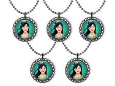 5 Disney Princess MULAN 3D Bottle Cap Necklace Birthday Party Favors