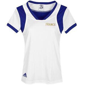 Adidas Women's Sports T-Shirt France Fitness Top Jersey Running White/Blue