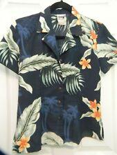 HAWAIIAN ALOHA SHIRT - PLUMERIA FLOWER & PALM TREES PRINT - WOMEN'S SIZE XS