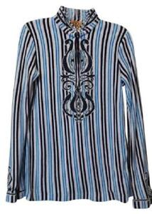 NEW TORY BURCH Long Appliqué Striped French Terry Cotton Top Size S $350