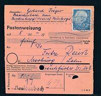 88571) Postanweisung mit EF 30PF Heuss I Biedenkopf Breidenbach - Marburg Lahn
