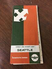 1962 Tidewater Oil Co Road Map Seattle, Washington