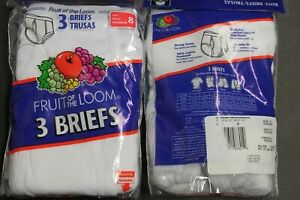 6 PACK Fruit of the Loom Boy's Cotton Ribbed Brief Underwear size 8 waist23-24in