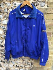 MENS FRED PERRY TRACKSUIT JACKET SIZE LARGE BLUE ZIP UP COAT VTG HARRINGTON