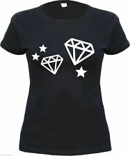 Diamanten Damen T-Shirt - Schwarz/Weiss - diamant diamonds girlie shirt