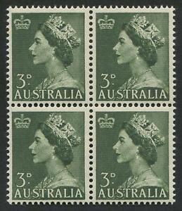 1953 3d green Queen, Coil perf. block of (4) MUH. SG.262a