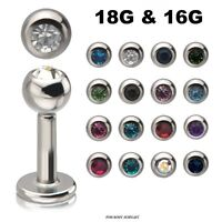 18G 16G Labret Monroe Lip Piercing Stud Cartilage Tragus Surgical Steel Gem Ball