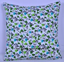 "16"" WHITE FLORAL QUILTED SOFA PILLOW CUSHION COVER DECORATIVE Indian Bohemian"