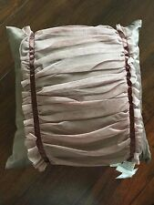 "Waterford Ballina Decorator Throw Pillow Mocha 20"" Square Tulle Ribbon NWT $75"