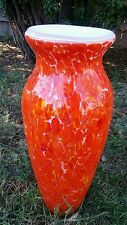Glass Vase Retro Orange Yellow Speckled DRIP CASED Glass 13""
