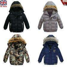 Kids Winter Warm Coats Baby Boys Hooded Coats Outwear Thick Windproof Jackets UK